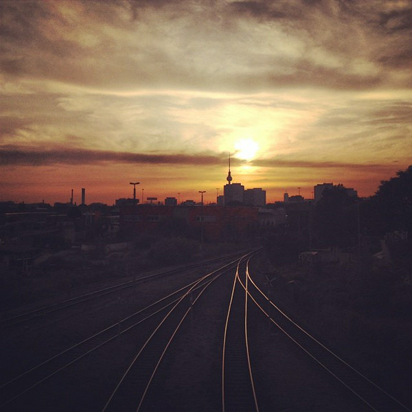 """A Berlin white-ish night sunset over the railroad tracks reminds me: """"If you do not change direction, you may end up where you are heading."""" via Instagram http://ift.tt/1zdZ6S0"""