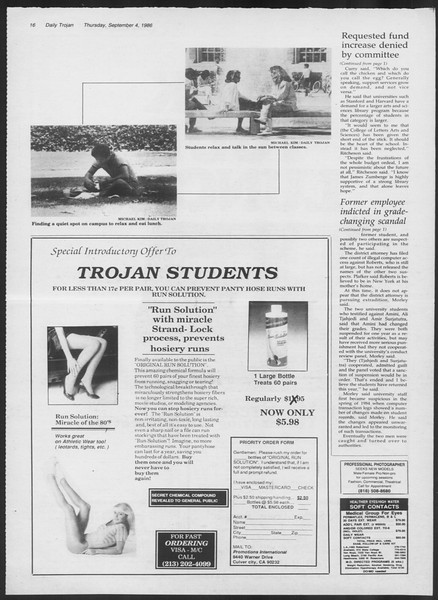 Daily Trojan, Vol. 102, No. 3, September 04, 1986