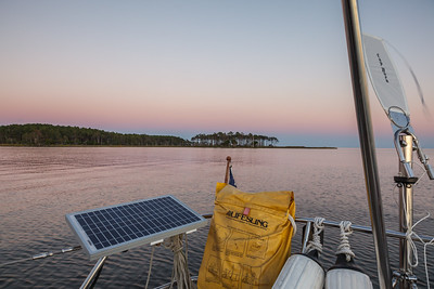Anchored off of Broad Creek (the Neuse, not the Pamlico) the night before heading offshore through Beaufort Inlet.