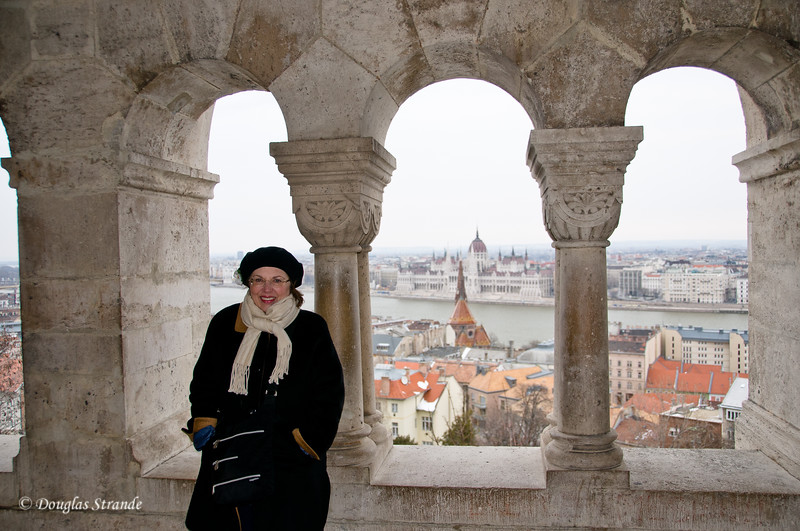 Louise at a Budapest overlook.  Parliament is in the distance.