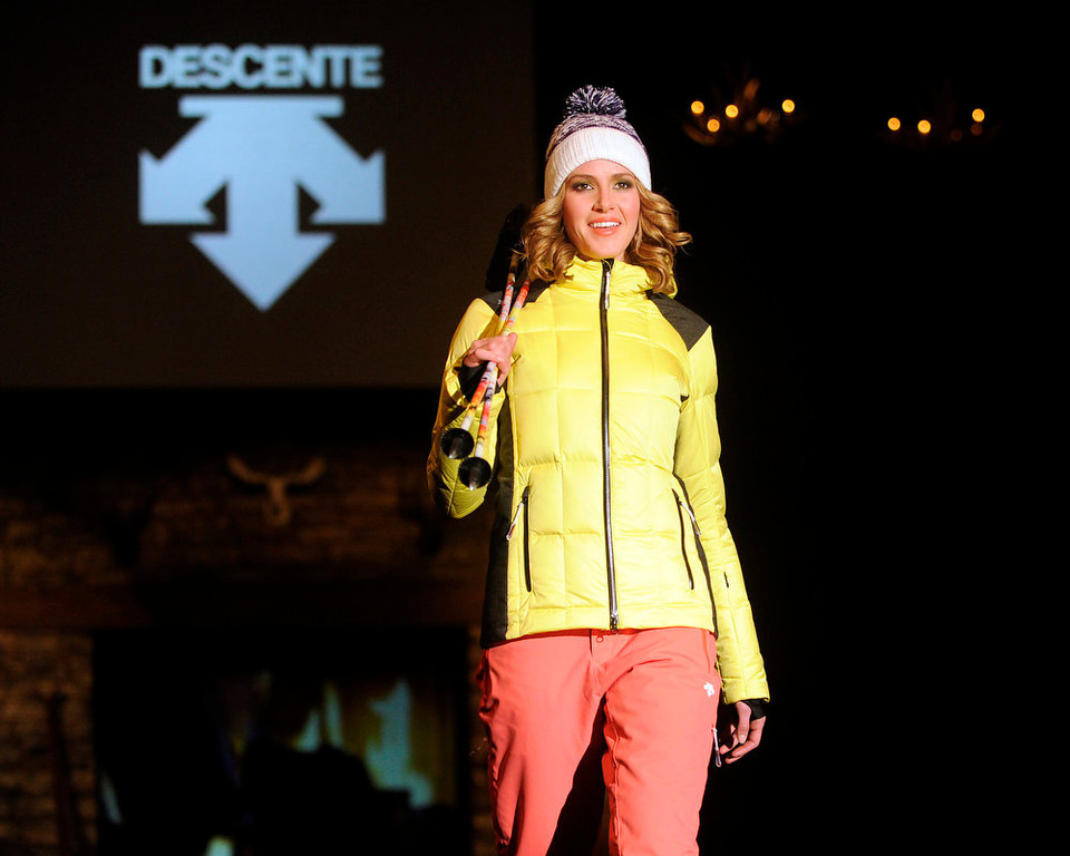 . Descente  yellow and black puff jacket and  snow gear, as the SIA Snow Show hosted its 2013 Snow Fashion & Trends Show at the Colorado Convention Center  in downtown Denver  on Wednesday, January 30, 2013.  (Photo By Cyrus McCrimmon / The Denver Post)