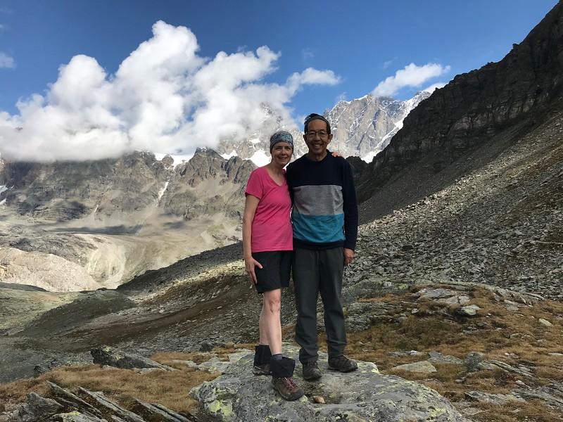 Sheri & Harvey at the pass above Rifugio Carate Brianza before continuing to Rifugio Bignami.