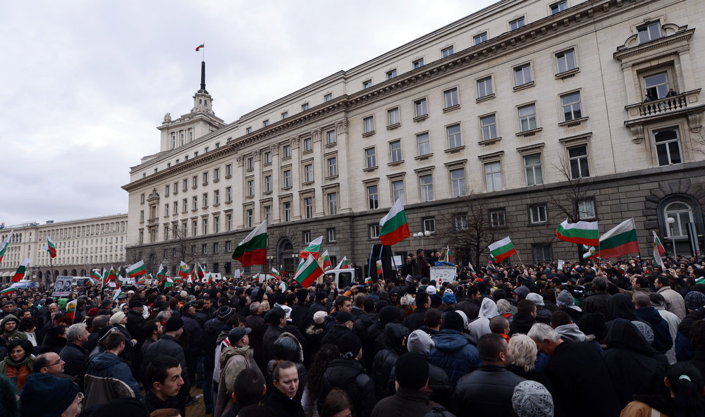 Description of . Protesters attend a rally in  Sofia on February 24, 2013. Tens of thousands of protesters rallied across Bulgaria on Sunday to denounce austerity measures and corruption plaguing the country, just days after the right-wing government was forced to resign.      DIMITAR DILKOFF/AFP/Getty Images