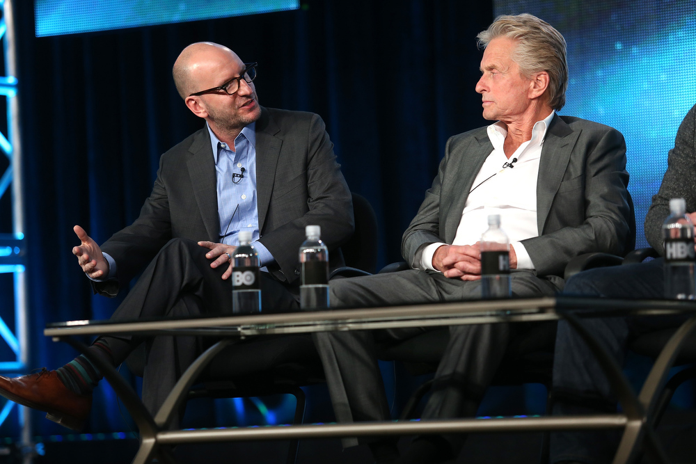 ". Director Steven Soderbergh (L) and actor Michael Douglas speak onstage during the ""Behind the Candelabra\"" panel discussion at the HBO portion of the 2013 Winter TCA Tourduring 2013 Winter TCA Tour - Day 1 at Langham Hotel on January 4, 2013 in Pasadena, California.  (Photo by Frederick M. Brown/Getty Images)"
