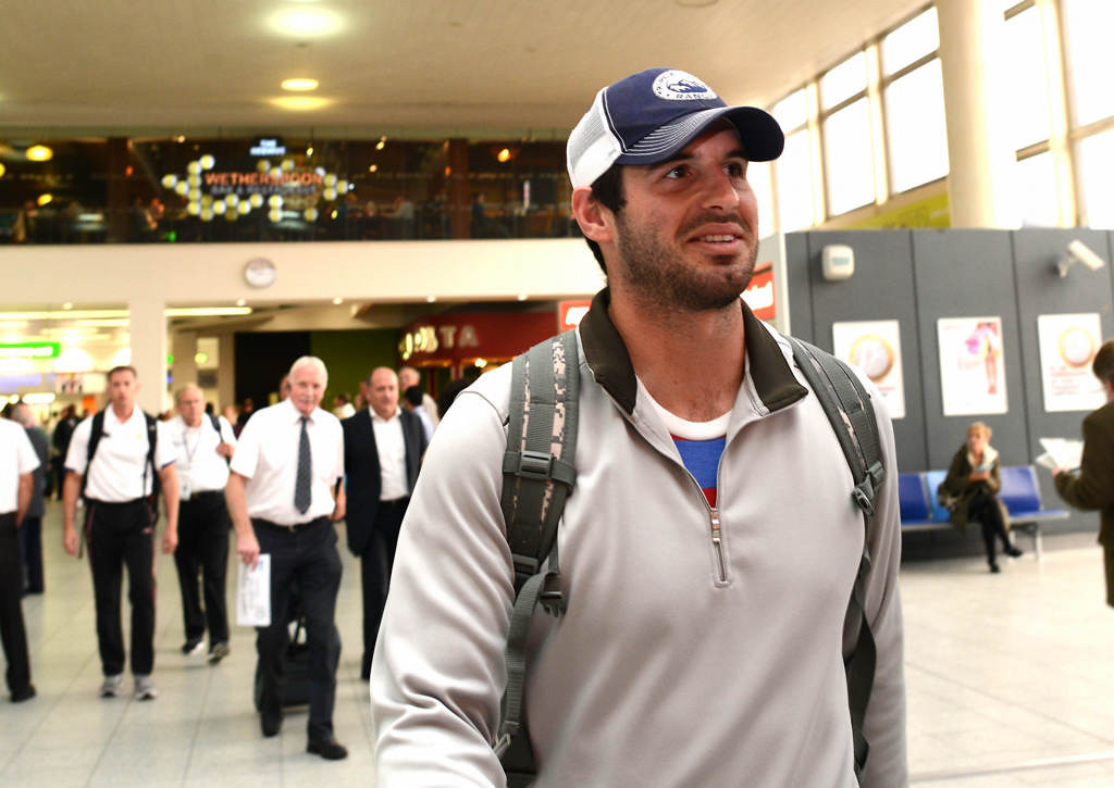 . Minnesota Vikings quarterback Christian Ponder arrives at Gatwick Airport in London on Tuesday, Sept. 24, 2013. The Vikings will face the Pittsburgh Steelers at Wembley Stadium on Sunday. (Photo: Dave Shopland)