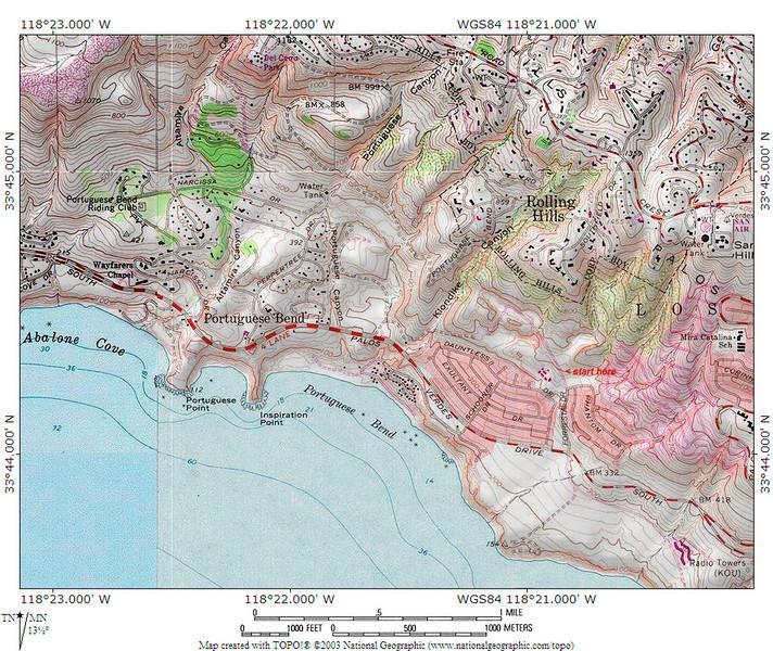 Portuguese Bend area topo map
