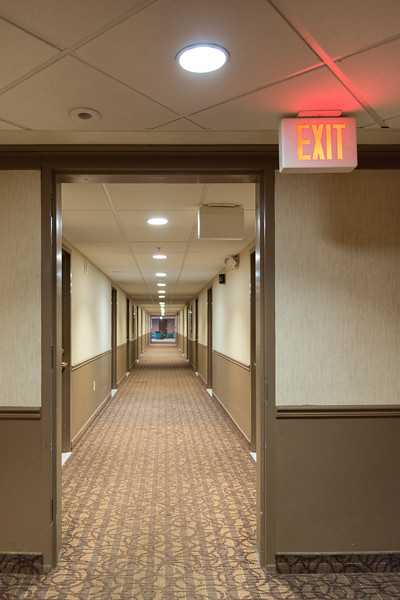 EXIT Sign - Hotel, USA - August 12, 2015