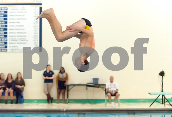12/19/17 Wesley Bunnell | Staff Newington boys swimming defeated Manchester 94-69 on Tuesday afternoon at Newington High School. Newington diver Nick Goegel.