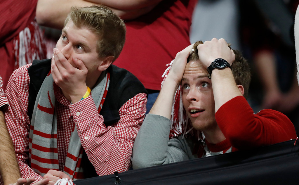 . Alabama fans react during the second half of the NCAA college football playoff championship game against Georgia Monday, Jan. 8, 2018, in Atlanta. (AP Photo/David Goldman)