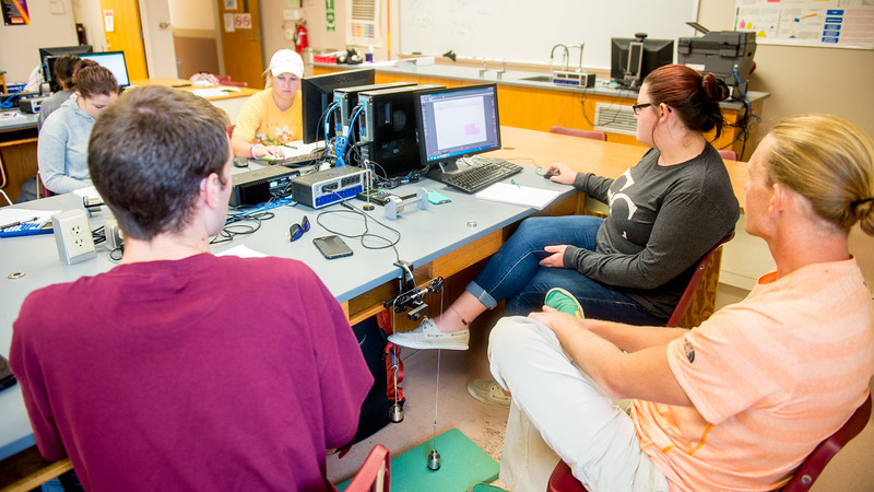 Students do the experiment and caculate the result in a lab session of General Physics I class of Professor Galina Reid