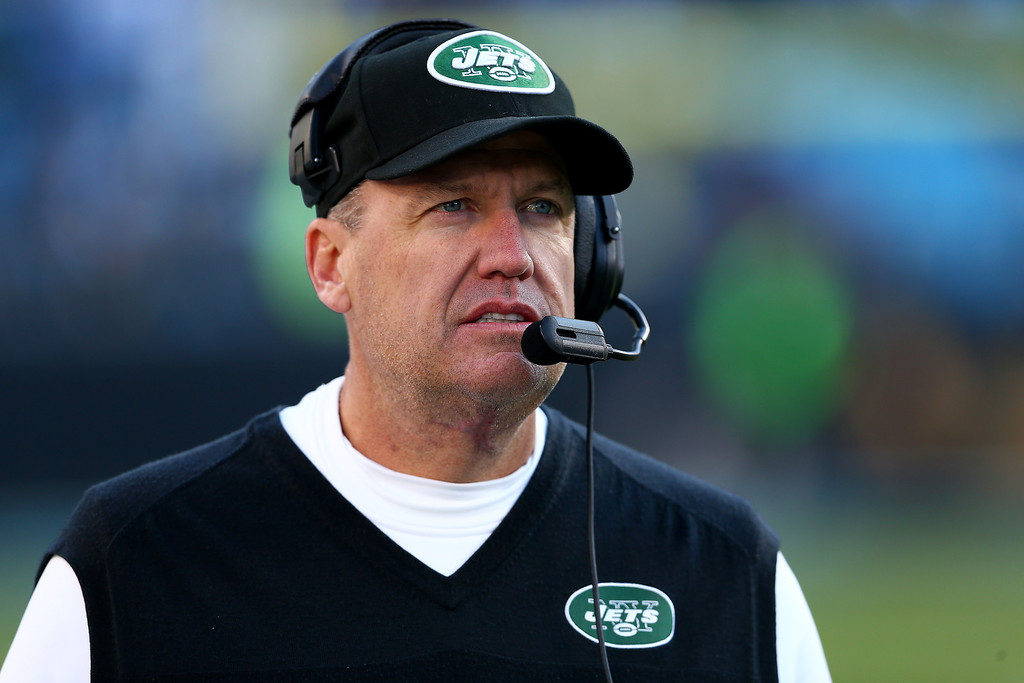 . Head coach Rex Ryan of the New York Jets watches on during their game against the Carolina Panthers at Bank of America Stadium on December 15, 2013 in Charlotte, North Carolina.  (Photo by Streeter Lecka/Getty Images)