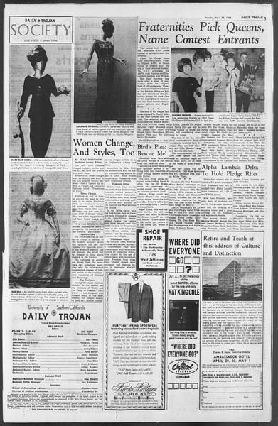 Daily Trojan, Vol. 54, No. 108, April 30, 1963