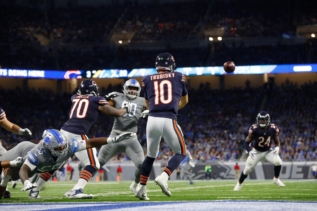 . Chicago Bears quarterback Mitchell Trubisky (10) passes during the second half of an NFL football game against the Chicago Bears, Saturday, Dec. 16, 2017, in Detroit. (AP Photo/Paul Sancya)