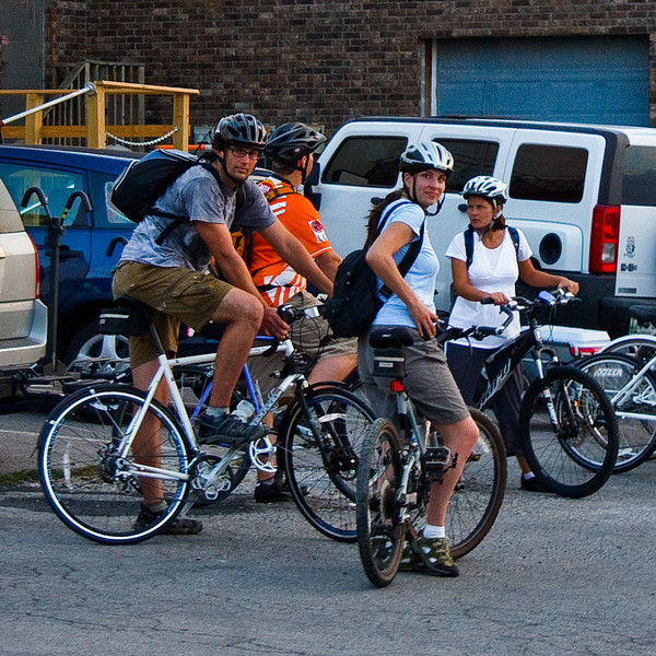 As we started to ride into town, we noticed a group of bikers.