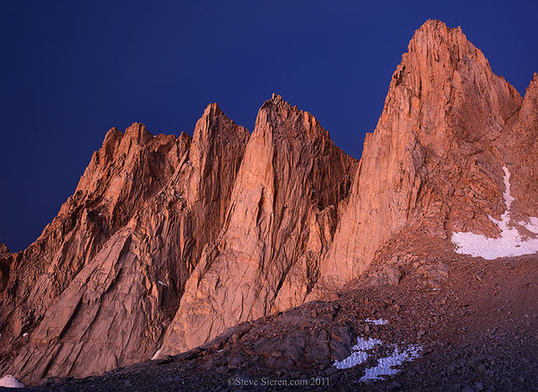 Mt Whitney close up view at dawn in the Eastern Sierra