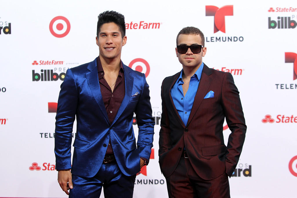 . Singer Chino and Nacho arrive at the Latin Billboard Awards in Coral Gables, Fla. Thursday, April 25, 2013. (Photo by Carlo Allegri/Invision/AP)