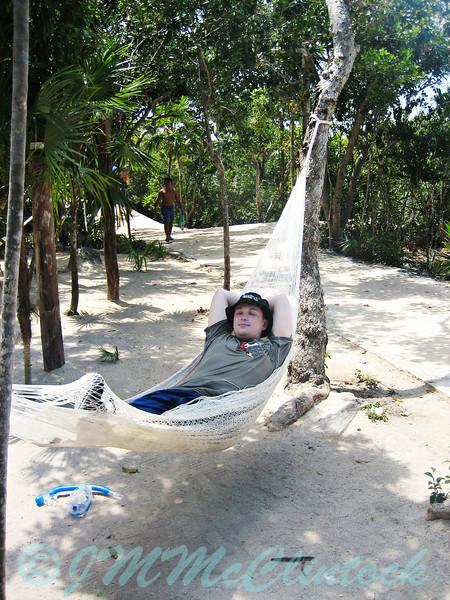 James relaxing in a hammock after some grueling snorkeling.  Xel-Ha