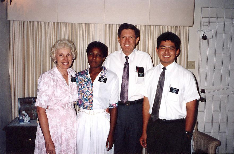 Sister Weiler and President Weiler in the mission home send Marva Williams on her mission.  Elder Salleh had baptized her a year earlier and happened to be in Kingston while she was there.