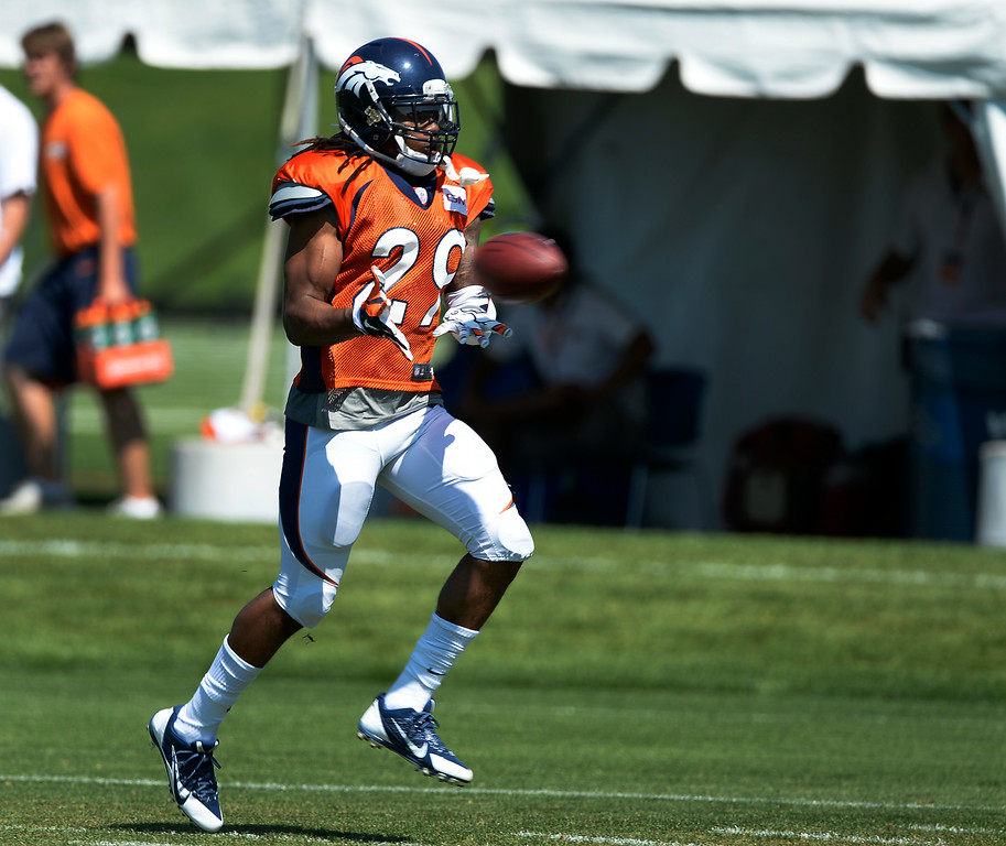 . Denver Broncos cornerback Bradley Roby (29) catches a pass during drills at the Denver Broncos 2014 training camp August 11, 2014 at Dove Valley. (Photo by John Leyba/The Denver Post)
