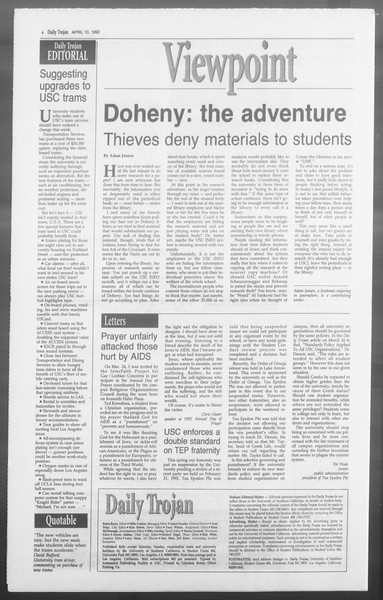 Daily Trojan, Vol. 117, No. 54, April 10, 1992
