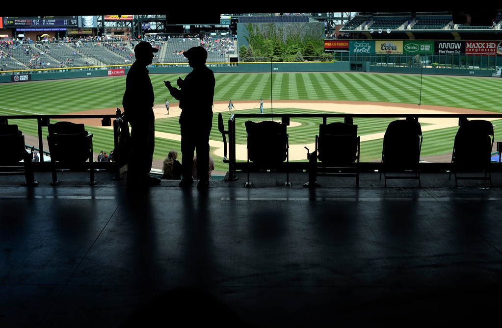 . DENVER, CO - MAY 11: Silhouette of ushers prior to the game with the Colorado Rockies versus the Arizona Diamondbacks May 11, 2016 at Coors Field. (Photo By John Leyba/The Denver Post) e