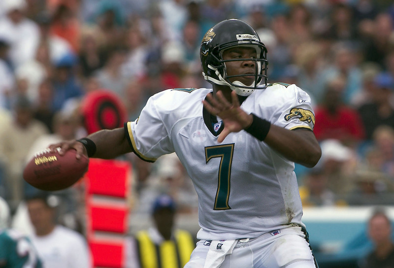 . Byron Leftwich, Marshall Selected seventh overall by the Jaguars in 2003 Leftwich led the Jaguars to a 12-4 record and a playoff berth in 2005, his third season. Early in 2006, though, Leftwich was injured, opening the door for David Garrard to step into the starting role. The Jaguars cut Leftwich prior to the 2007 season, opting to stick with Garrard, and the former first-round pick has bounced around the league as a backup since. GRADE: C-. When you take a quarterback in the top 10, you hope he�ll stick around more than 3 ½ seasons. (Photo by Matt Stroshane/Getty Images)