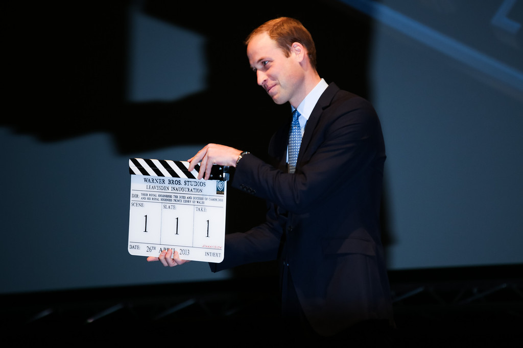 . Prince William, Duke of Cambridge holds a Clapper Board at the Inauguration Of Warner Bros. Studios Leavesden on April 26, 2013 in London, England.  (Photo by Paul Rogers - WPA Pool/Getty Images)