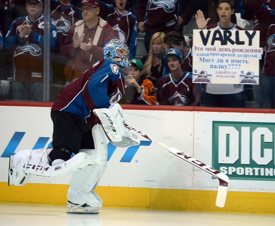 . Semyon Varlamov (1) of the Colorado Avalanche takes the ice before the game. The Colorado Avalanche hosted the Minnesota Wild in the first round of the Stanley Cup Playoffs at the Pepsi Center in Denver, Colorado on Saturday, April 19, 2014. (Photo by Karl Gehring/The Denver Post)