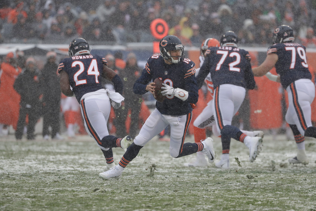 . Chicago Bears quarterback Mitchell Trubisky (10) looks to throw against the Cleveland Browns in the first half of an NFL football game in Chicago, Sunday, Dec. 24, 2017. (AP Photo/Nam Y. Huh)