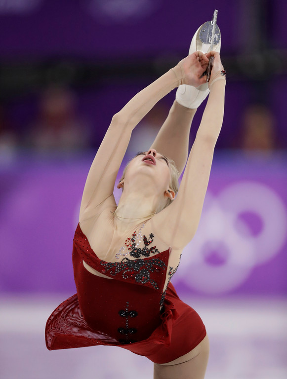. Bradie Tennell of the United States performs during the women\'s short program figure skating in the Gangneung Ice Arena at the 2018 Winter Olympics in Gangneung, South Korea, Wednesday, Feb. 21, 2018. (AP Photo/Bernat Armangue)