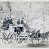 """Title: """"The Deadwood Coach""""<br /> Side view of a stagecoach; formally dressed men sitting in and on top of coach. 1889.<br /> Repository: Library of Congress Prints and Photographs Division Washington, D.C. 20540"""