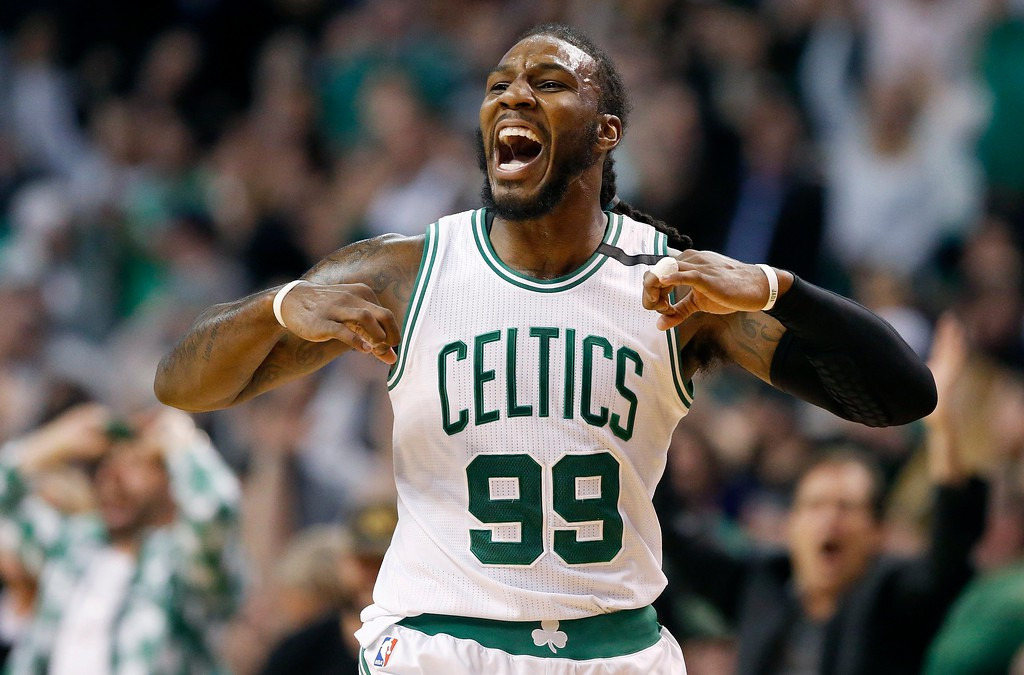 . Boston Celtics\' Jae Crowder celebrates after hitting a 3-pointer during the third quarter of a second-round NBA playoff series basketball game against the Washington Wizards, Sunday, April, 30, 2017, in Boston. The Celtics won 123-111. (AP Photo/Michael Dwyer)