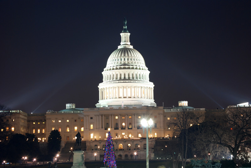 A view of the Capitol building after Christmas.  Just off to the right was the 3 hour line to see president Ford's body. This was the night before his funeral.