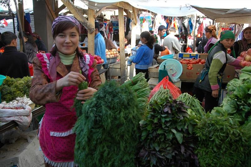 Herbs and Vendor at Osh Market, Kyrgyzstan