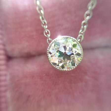 .65ct Old European Cut Diamond Bezel Pendant
