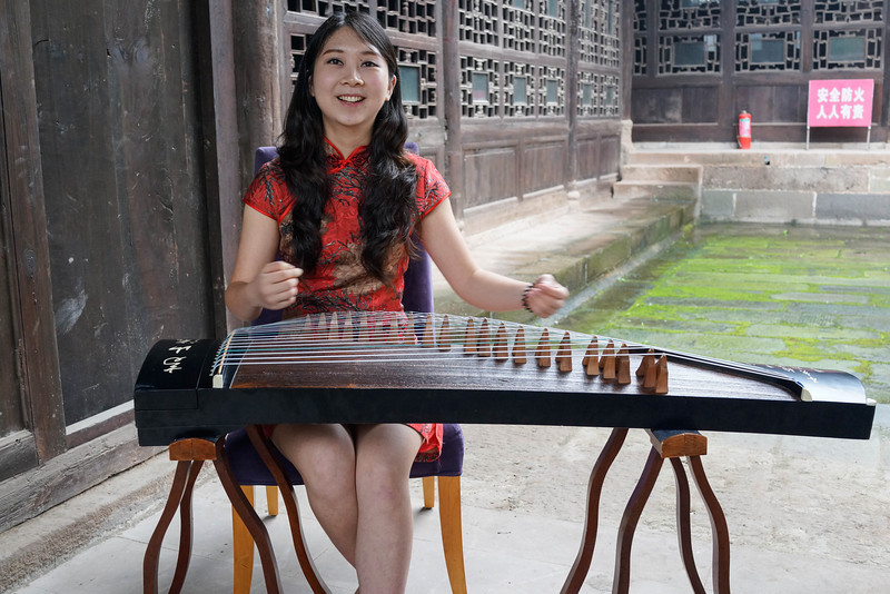 Rosewood Guzheng, Chinese zither harp and harpist.
