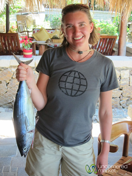 Audrey with her Tuna - Morgan's Rock, Nicaragua