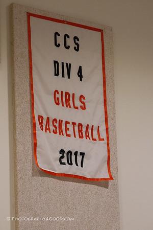 Girls CCS Champion Banner raising ceremony 2017