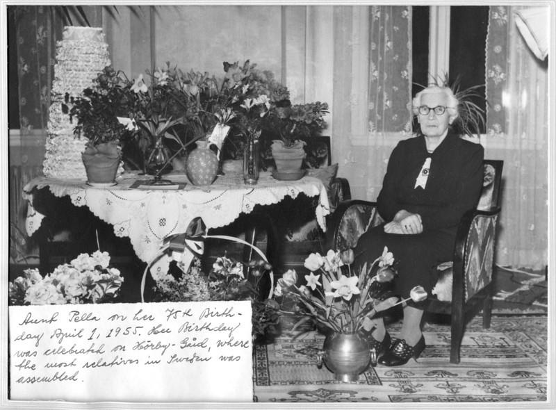 Pella (Bengtsdotter) Persson on her 75th birthday at Hörby-Gård.