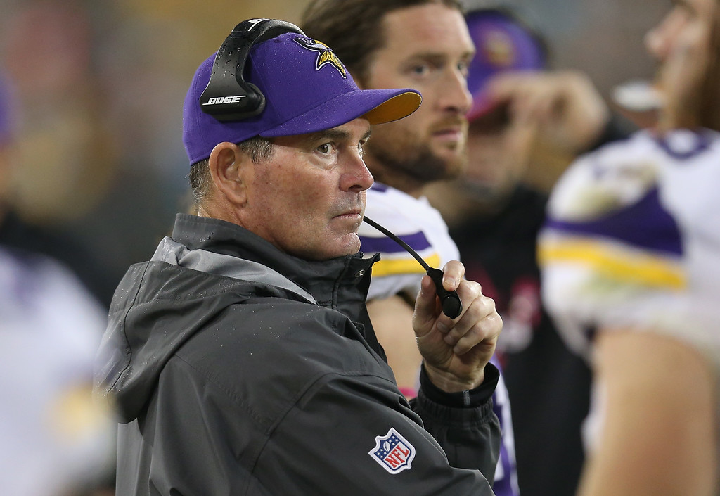 . GREEN BAY, WI - OCTOBER 02: Head coach of the Minnesota Vikings, Mike Zimmer, watches from the sidelines during the NFL game against the Green Bay Packers at Lambeau Field on October 2, 2014 in Green Bay, Wisconsin. (Photo by Jonathan Daniel/Getty Images)