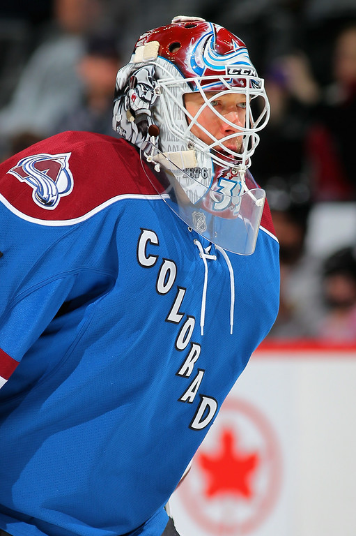 . Goalie Jean-Sebastien Giguere #35 of the Colorado Avalanche warms up prior to facing the Nashville Predators at the Pepsi Center on March 30, 2013 in Denver, Colorado. The Avalanche defeated the Predators 1-0 in overtime.  (Photo by Doug Pensinger/Getty Images)