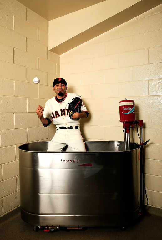 . SCOTTSDALE, AZ - FEBRUARY 20:  Pitcher Sergio Romo #54 poses for a portrait during San Francisco Giants Photo Day on February 20, 2013 in Scottsdale, Arizona.  (Photo by Jamie Squire/Getty Images)