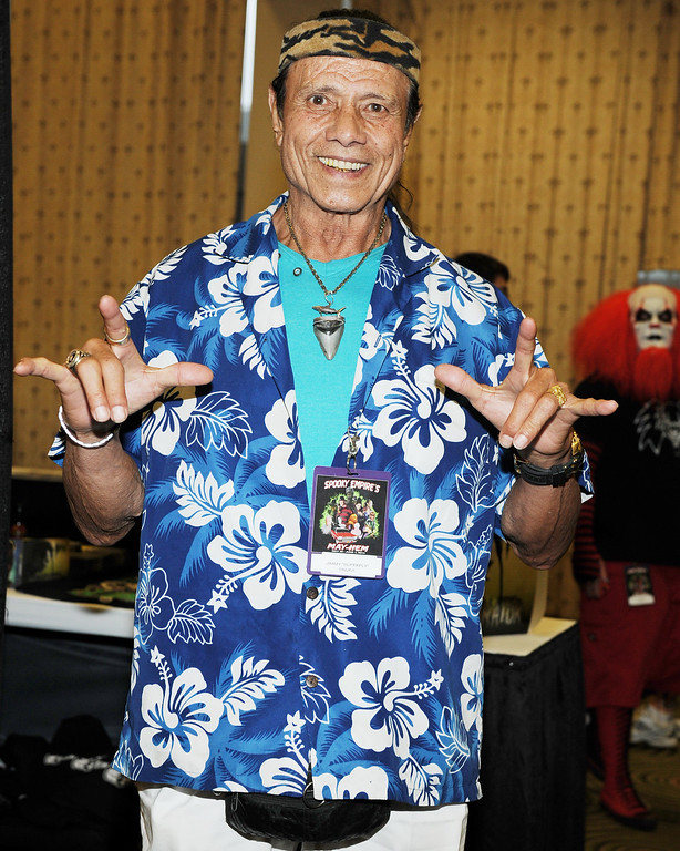 . Jimmy \'Superfly� Snuka appears at the Spooky Empire Mayhem Horror Convention at the DoubleTree Hotel on Saturday, May 31, 2014, in Orlando, Fla. Snuka died Jan. 15 at age 73. (Photo by [Jeff Daly/Invision/AP)