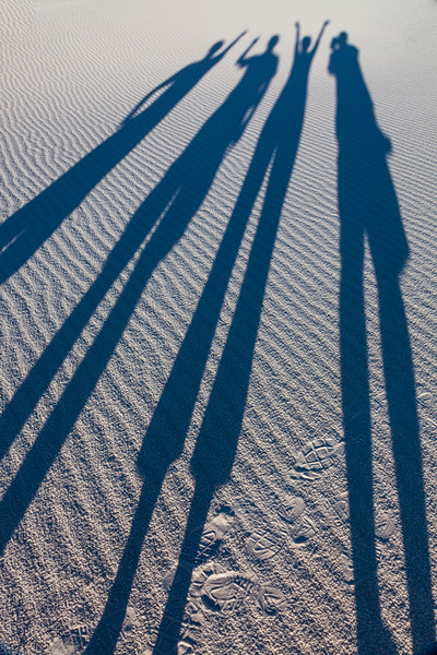 Family shadows at White Sands National Monument, New Mexico