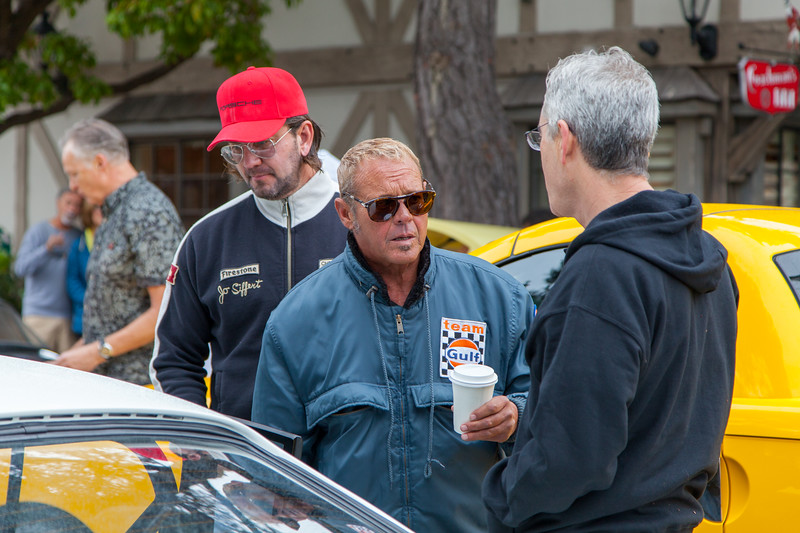 Chad McQueen enjoying the cars that arrived early.