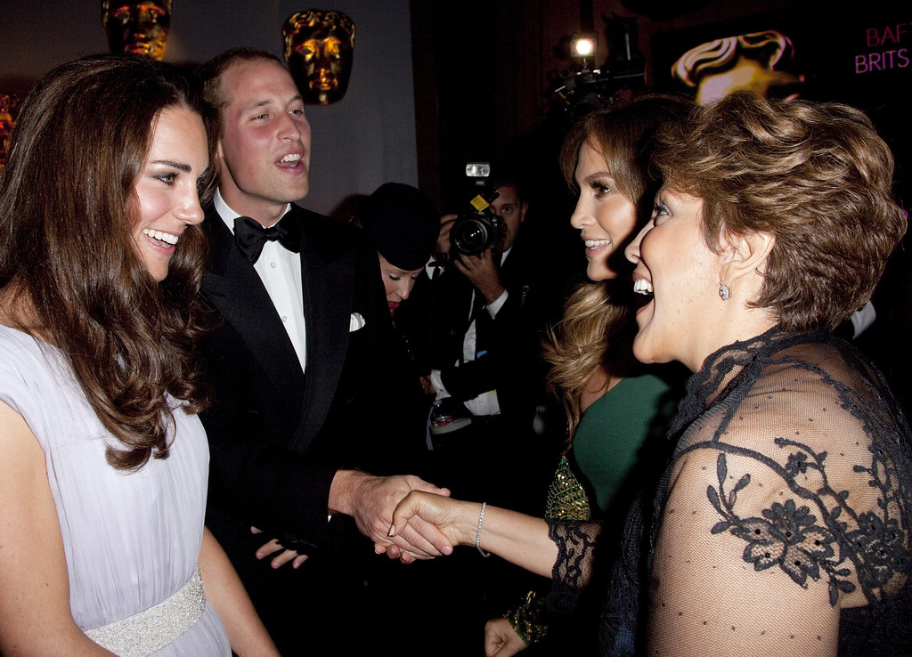 . LOS ANGELES, CA - JULY 09:  Prince William, Duke of Cambridge and Catherine, Duchess of Cambridge speaks to Jennifer Lopez and her mother Guadalupe Lopez at the 2011 BAFTA Brits To Watch Event at the Belasco Theatre on July 9, 2011 in Los Angeles, California. The newlywed Duke and Duchess of Cambridge were in attendance on the ninth day of their first joint overseas tour visiting Canada and the United States. (Photo by Mark Large - Pool/Getty Images)