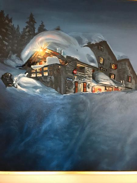Rifugio Lago Palu in the winter (painting)