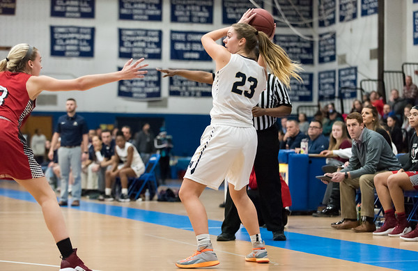 f02/21/19 Wesley Bunnell | Staff Newington girls basketball vs E.O. Smith in the CCC Conference Championship game played at Glastonbury High School. Maya Gajowiak (23) looks towards the hoop to pass.