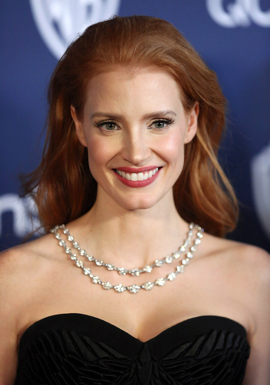 . Jessica Chastain arrives at the 15th annual InStyle and Warner Bros. Golden Globes after party at the Beverly Hilton Hotel on Sunday, Jan. 12, 2014, in Beverly Hills, Calif. (Photo by Matt Sayles/Invision/AP)