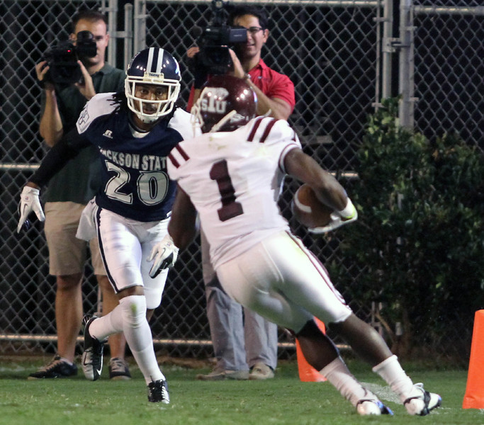 Qua Cox looks to stop a Texas Southern receiver at the goal line.